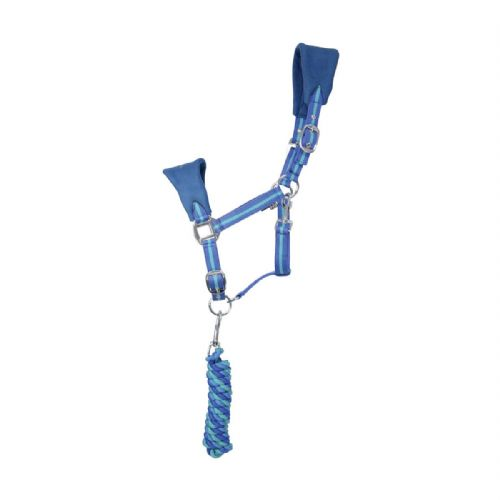 Hy Zeddy Fleece Head Collar & Lead Rope Set in Cobalt Blue